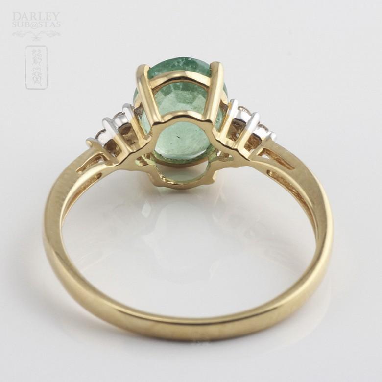 1.78克拉祖母绿配钻石18K黄金戒指 - 2
