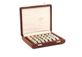 Set of twenty-eight piece silver domino, with box, 20th century