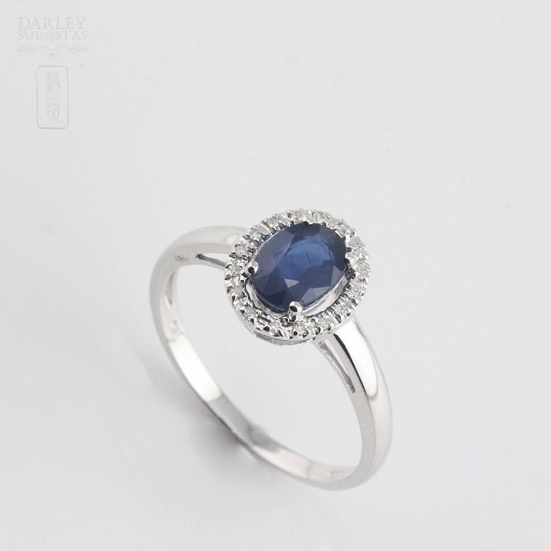 0.93克拉天然蓝宝石配钻石18K白金戒指