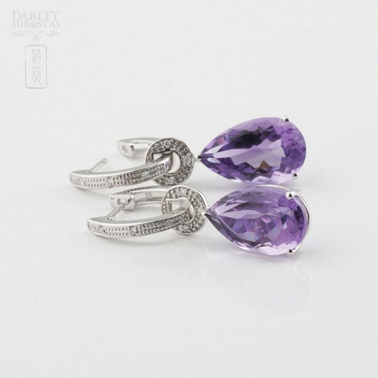 18k白金镶紫晶配钻石耳环 - 4