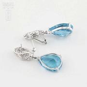 18k白金镶蓝晶配钻石耳环 - 4