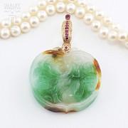 日本海珠挂玉牌镶红宝钻石项链 - 5