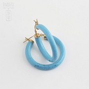 Earrings Natural turquoise in yellow gold - 2