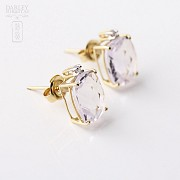 Pair of earrings in 18k yellow gold with amethyst and diamonds - 2