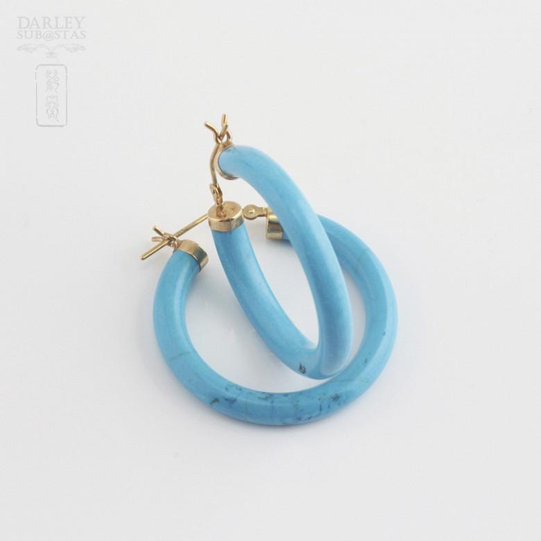 18k黄金松石圆耳环 - 3