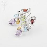 Fantásticos pendientes en oro blanco 18k con gemas semipreciosas y diamantes - 3