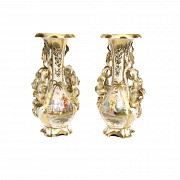 Pair of enameled and golden porcelain vases, Ruaud, 19th century