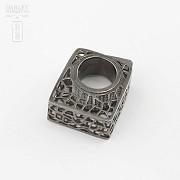 Original anillo en plata ley y rodio negro - 2