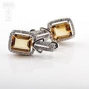 Excelentes pendientes de 18k oro blanco citrino con diamantes - 1