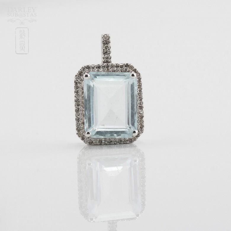 Pendant  Aquamarine2.72cts in white gold and diamonds - 4