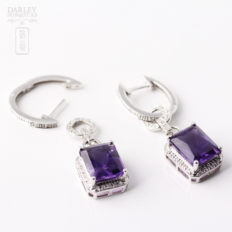 largosde 18k  with  amethyst 5.97 cts earrings and  diamonds