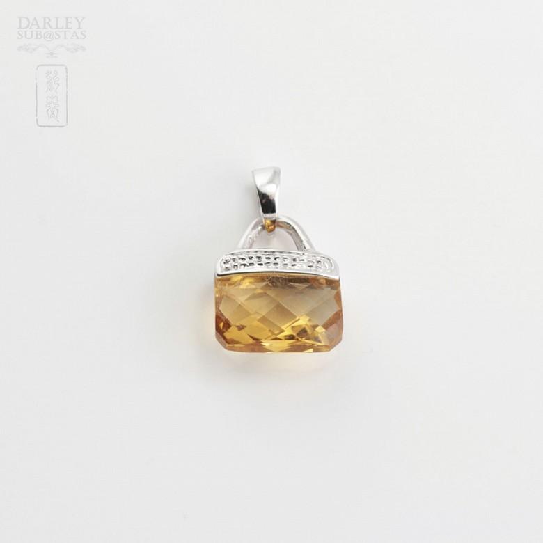 天然黄晶14K白金挂坠