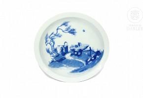Plato de porcelana, azul y blanco, s.XX