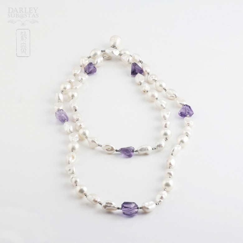 Necklace Amethyst and Pearl  in Sterling Silver, 925