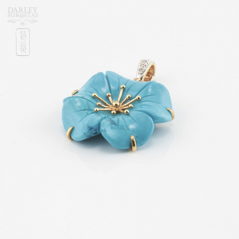 Natural turquoise pendant, 18k gold and diamonds - 3