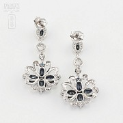 Fantastic earrings sapphires and diamonds 0.60cts - 3