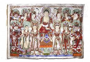 Gran thangka de seda pintada, Corea, s.XIX.