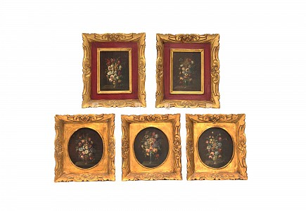 Grupo de cinco bodegones de flores, s.XIX