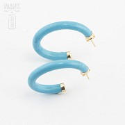 Earrings Turquoise in yellow gold - 1