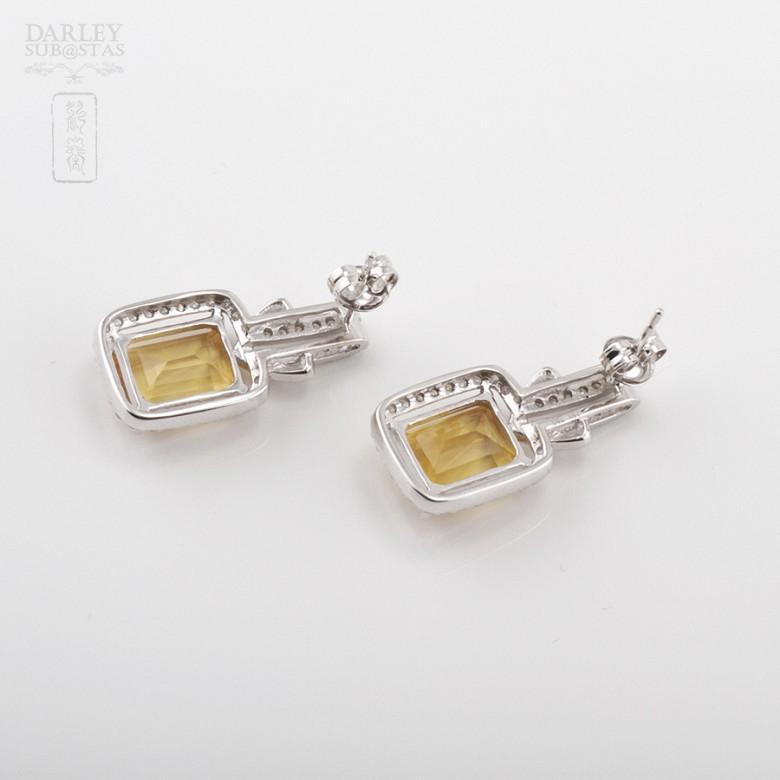 Excelentes pendientes de 18k oro blanco citrino con diamantes - 3