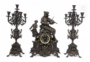Table clock with bronze trimmings, 20th century