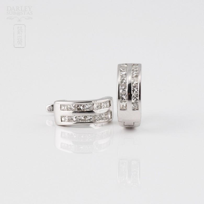 pendientes diamantes 0.57cts en oro blanco de 18K - 1