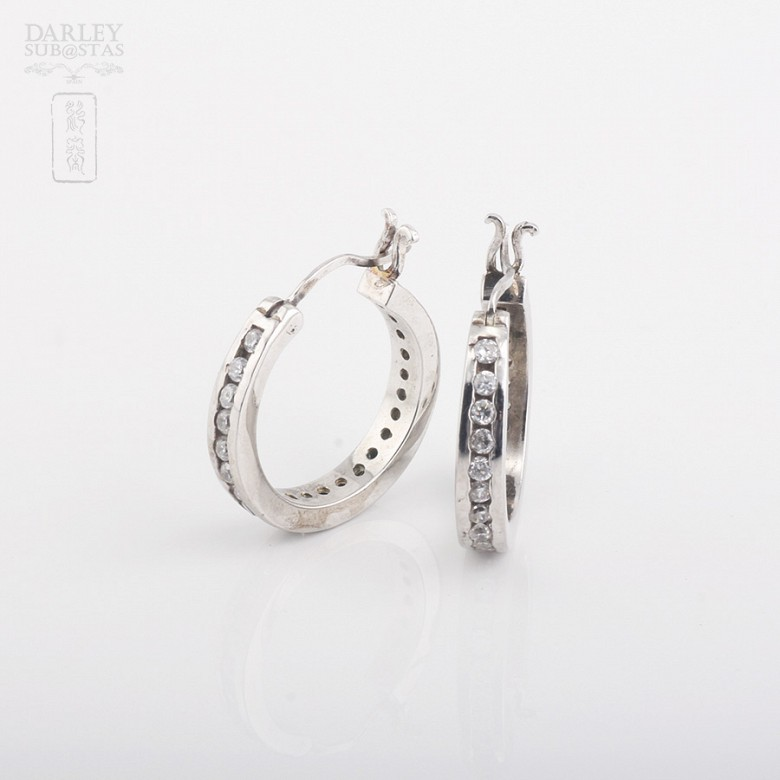 Rhodium silver earrings with cubic zirconia - 1