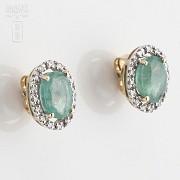 Pendientes oro amarillo 18k, esmeralda y diamantes