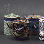 Set of 10 jars with lids Chinese cloisonne - 3