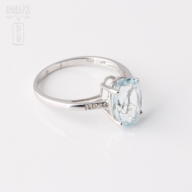 Ring in 18k white gold with  2.18cts Aquamarine  and diamonds - 2