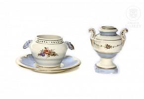 Cup, sugar bowl and plate by Antonio Peyró (1882-1954).