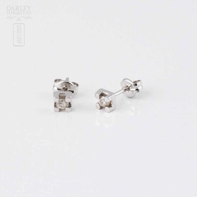 0.12克拉钻石18K白金耳钉