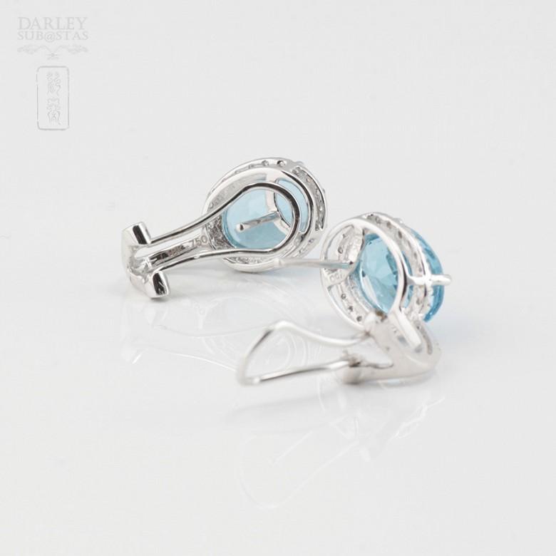 18K白金镶钻石配蓝晶耳环 - 3