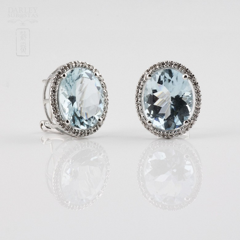 earrings with 7.24cts Aquamarine and diamond 18k