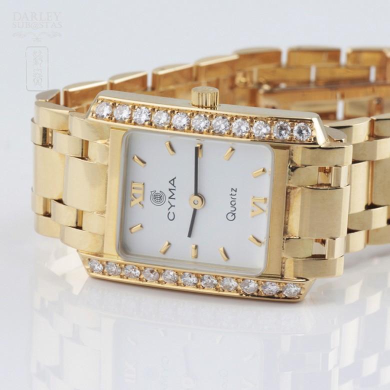 Precious gold and diamond watch Cyma - 3