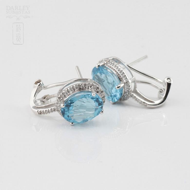 18K白金镶钻石配蓝晶耳环 - 1