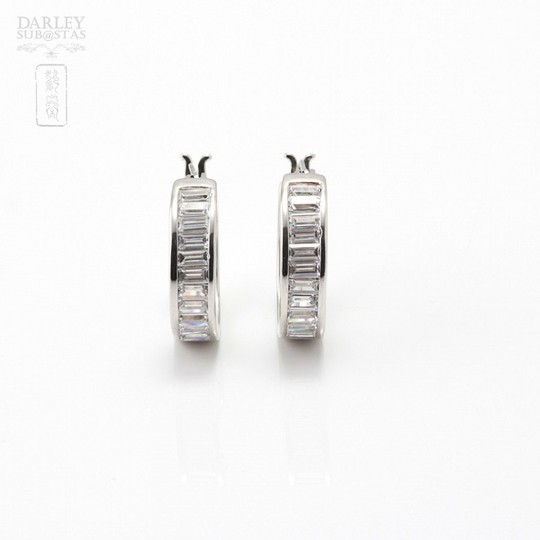 Pair of earrings in silver and rhodium with zirconia - 3