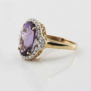 0.50cts elegant ring with diamonds and 18k yellow gold amethyst - 4