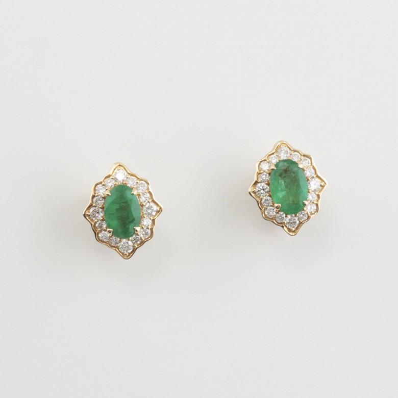 18k gold earrings, emerald and diamonds - 2