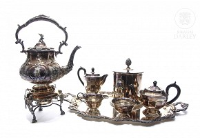 Set of seven pieces of silver plated metal, 20th century