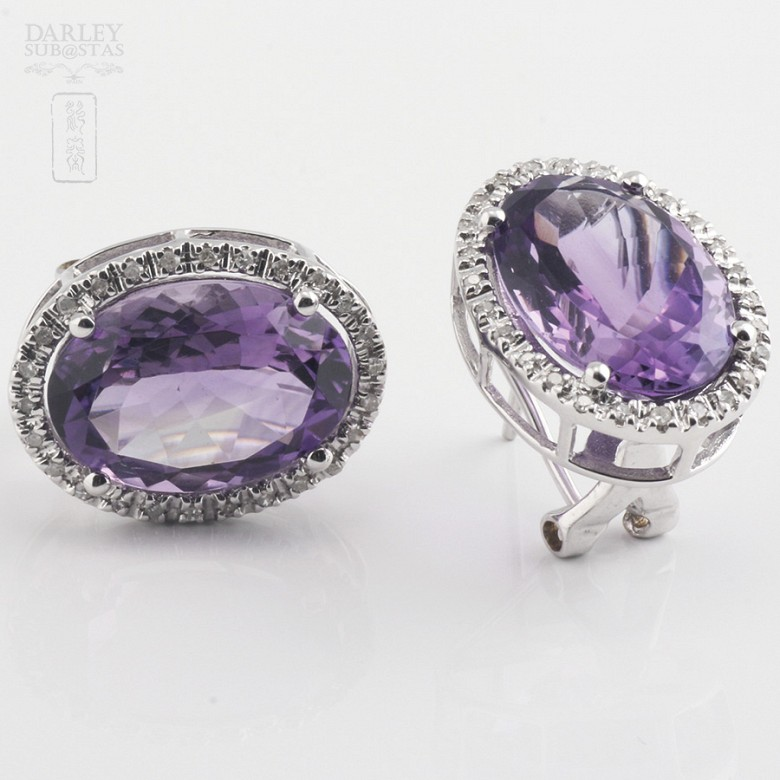 Earrings with amethyst 10.20 cts  and diamonds in white gold - 2