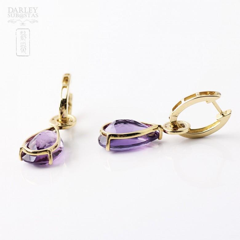 12.67克拉天然紫晶配钻石18K黄金耳环 - 1