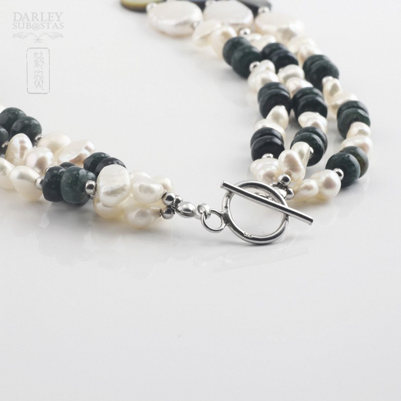 Necklace with pearls and semi-precious gems in sterling silver, 925 - 2