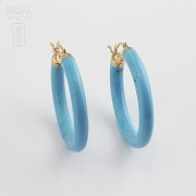 Earrings Natural turquoise in yellow gold - 1
