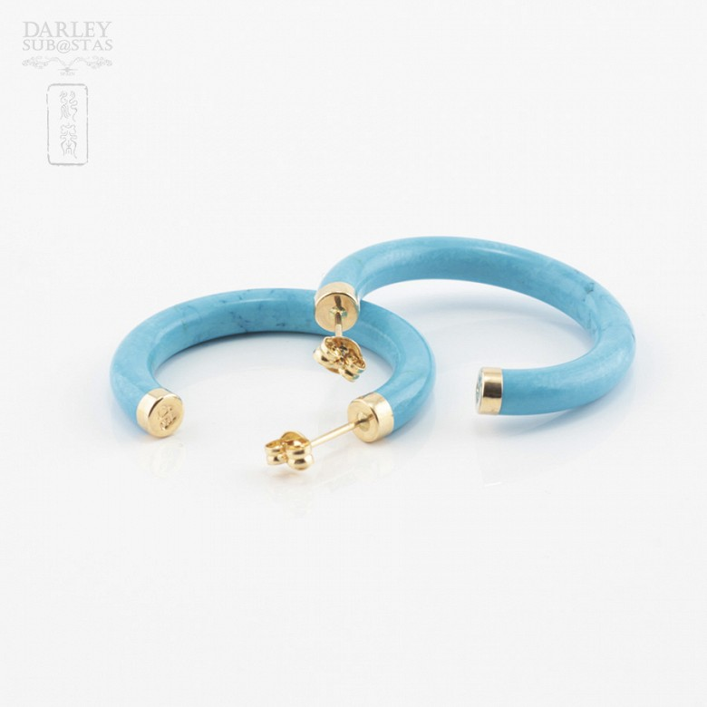 Earrings Turquoise in yellow gold - 2