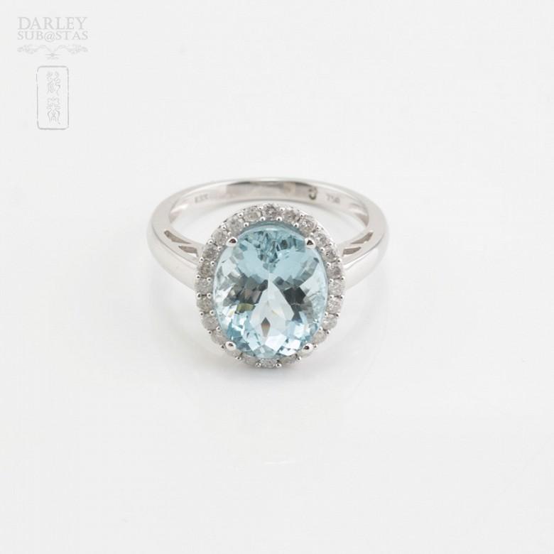 4.28克拉天然海蓝宝石配钻石18K白金戒指 - 3