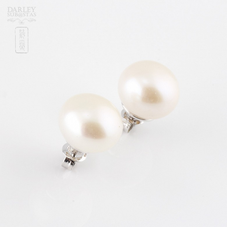Earrings Natural Pearl in 18k White Gold