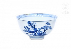 Cuenco azul y blanco, China. s.XIX-XX