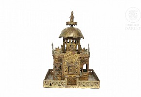 Hindu bronze altar.