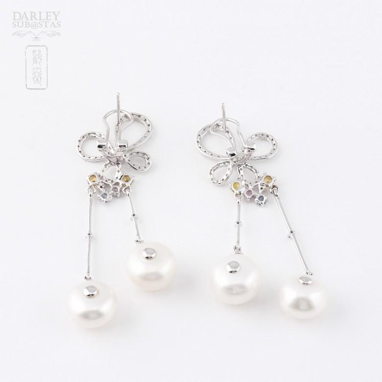 0.56克拉四色宝石配钻石18K白金耳环 - 2